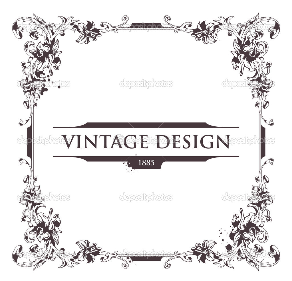 Vintage frame. Flourish heraldry elements. Vector EPS 10 illustration.  Stock Vector #7349605