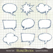 Set of hand-drawn speech bubbles — Stockvectorbeeld