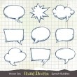 Stock Vector: Set of hand-drawn speech bubbles