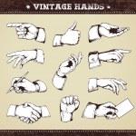 Set of vintage hands — Stock Vector