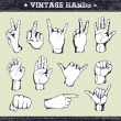 Stock Vector: Set of vintage hands