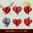 Set of vector tattoo stylized vector hearts — Stock Vector