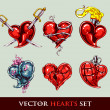 Set of vector tattoo stylized vector hearts — Stock vektor