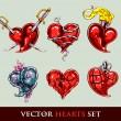 uppsättning vektor tatuering stiliserade vector hearts — Stockvektor