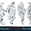 Set of heraldic flourish patterns — Stock Vector
