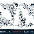 Set of heraldic flourish  patterns - Stock Vector