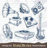 Set of hand drawn musical objects — Stock Vector