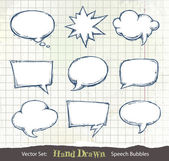 Set of hand-drawn speech bubbles — Stok Vektör