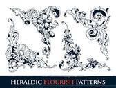 Conjunto de padrões de floreio heráldico — Vetorial Stock