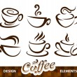Stock Vector: Vector set of coffee design elements