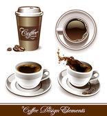 Vector set of coffee cups — Stock Vector