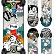 Vector set of graffiti skateboards styles - Stock Vector