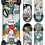 Vector set of graffiti skateboards styles — Stock Vector