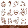 Royalty-Free Stock Vector Image: Vector set of cute hand-drawn halloween elements