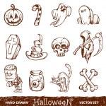 Vector set of cute hand-drawn halloween elements — Stock Vector