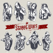 Постер, плакат: Vector set of hoody gangsters