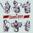 Vetorial Stock : Vector set of hoody gangsters