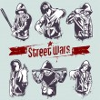 Vector set of hoody gangsters - Stock Vector