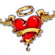 Vetorial Stock : Tattoo styled heart with wings