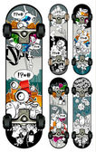 Vector set of graffiti skateboards styles — Stock Vector