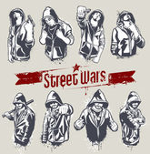 Vector set of hoody gangsters — 图库矢量图片