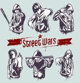 Vector conjunto de gangsters con capucha — Vector de stock