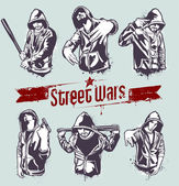 Vector set of hoody gangsters — Stock Vector
