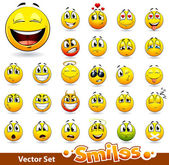 Vector conjunto de lindas sonrisa-bolas — Vector de stock