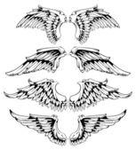 Vector set of wings — Stock Vector