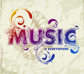 Letras de música dibujados a mano — Vector de stock