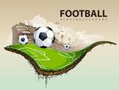 Vector illustration of surreal soccer field — Stock Vector
