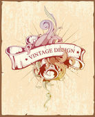 Vintage design of ribbon with beautiful pattern — Vetorial Stock