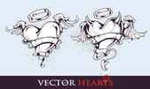 Two tattoo styled hearts — Stock Vector