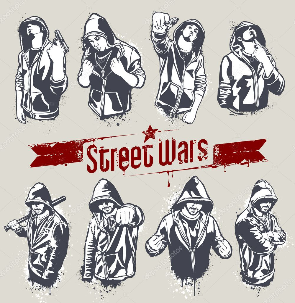 Vector set of hoody gangsters. Grungy style. All elements are groupped and layered.  — Stock Vector #7491412