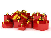 Gift boxes over white background — Stock Photo