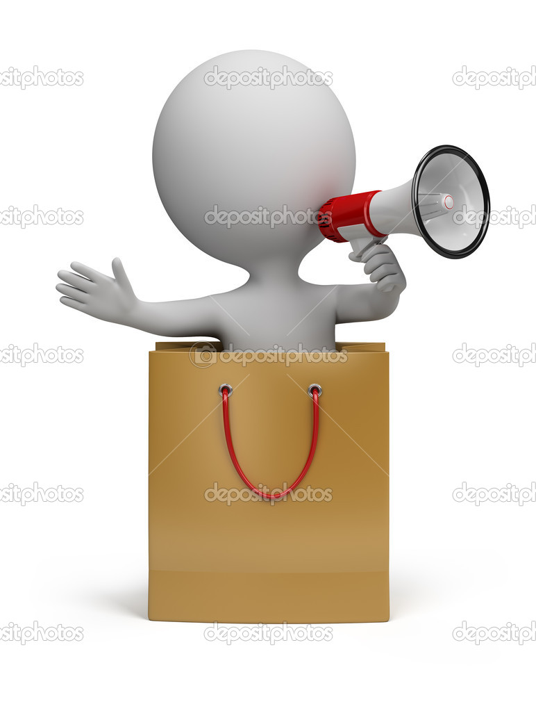 3d small person in a package with a megaphone in hand. 3d image. Isolated white background.  Stock Photo #7299123