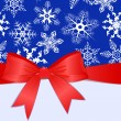 Pattern with snowflakes, red bow and place for text. eps10 — 图库矢量图片