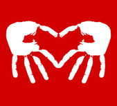 Dwie ręce reprezentujące serca — Wektor stockowy