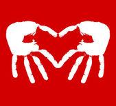 Twee handen vertegenwoordigen hart — Stockvector
