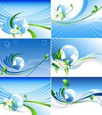 Environmental abstract backdrops set — Stock Vector
