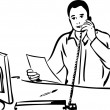 Sketch of a man talking on the phone — Imagen vectorial