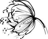 Vit blomma bud — Stockvektor