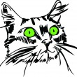 Muzzle of a cat with green eyes - Stock Vector