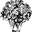 Black and white picture Roses in a Vase - Stock Vector