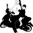 Girl on a motor scooter driven by a boy - Stock Vector