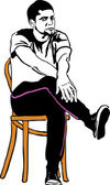Sketch of the guy in sneakers sitting on a wooden chair — Stock Vector