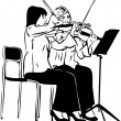 Stock Photo: Sketch of two girls playing on the fiddle