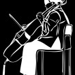 Royalty-Free Stock Vector Image: Sketch of a woman playing a cello bow