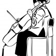 Sketch of a woman playing a cello bow - Imagens vectoriais em stock