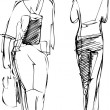 Sketch of two girls going in different directions — 图库矢量图片